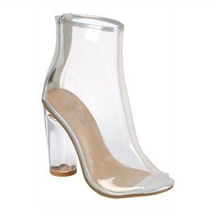 Shoes - New with Box Chunky Heel Clear Bootie